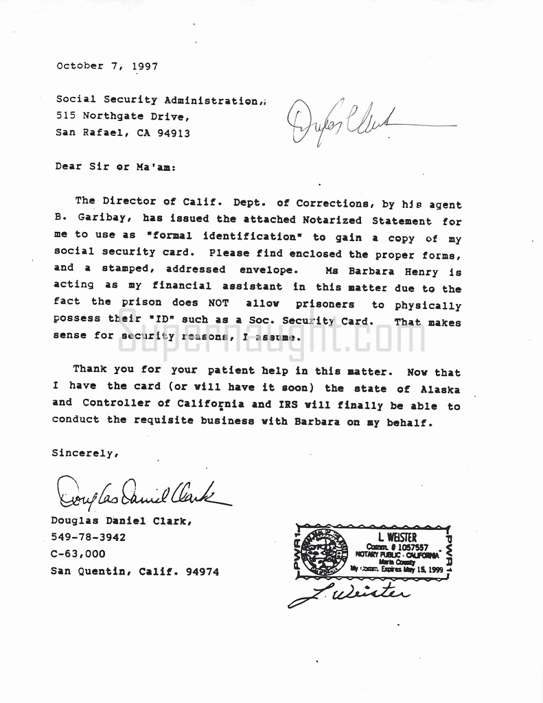 What is A Notarized Letter Unique Douglas Clark Notarized Letter to social Security Signed