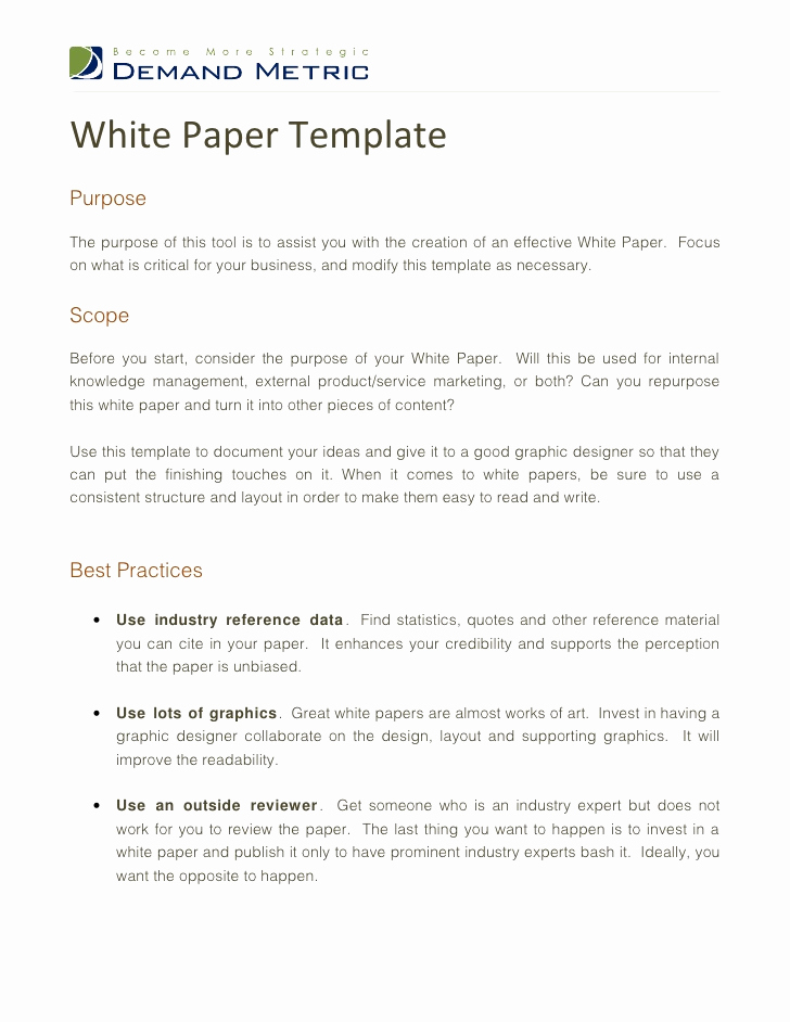 White Paper Outline Template Inspirational White Paper Template