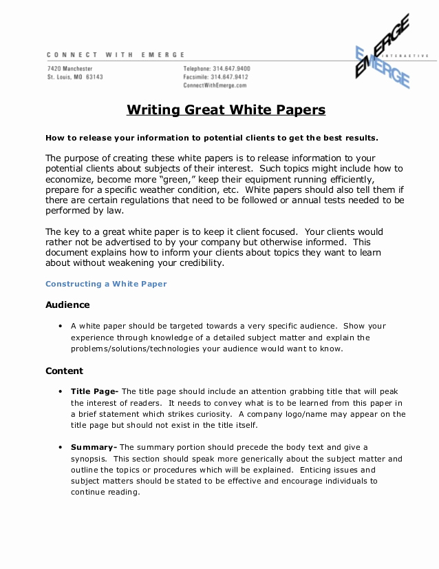 White Paper Outline Template New How to Write A Great White Paper