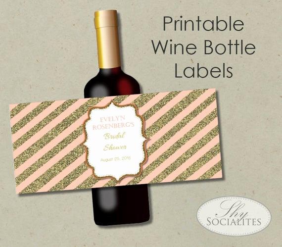 Wine Bottle Label Template New Blush & Gold Glitter Printable Wine Label Hostess Gift