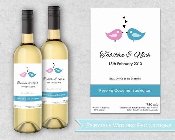 Wine Bottle Label Template Unique Personalized Wedding Wine Bottle Labels by Fairytaleweddingpro