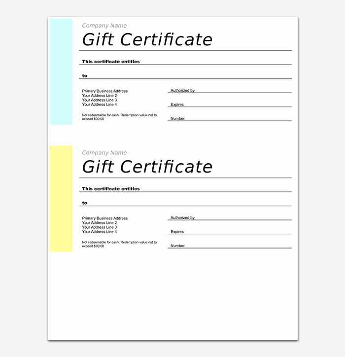 Word Gift Certificate Template Beautiful 44 Free Printable Gift Certificate Templates for Word & Pdf