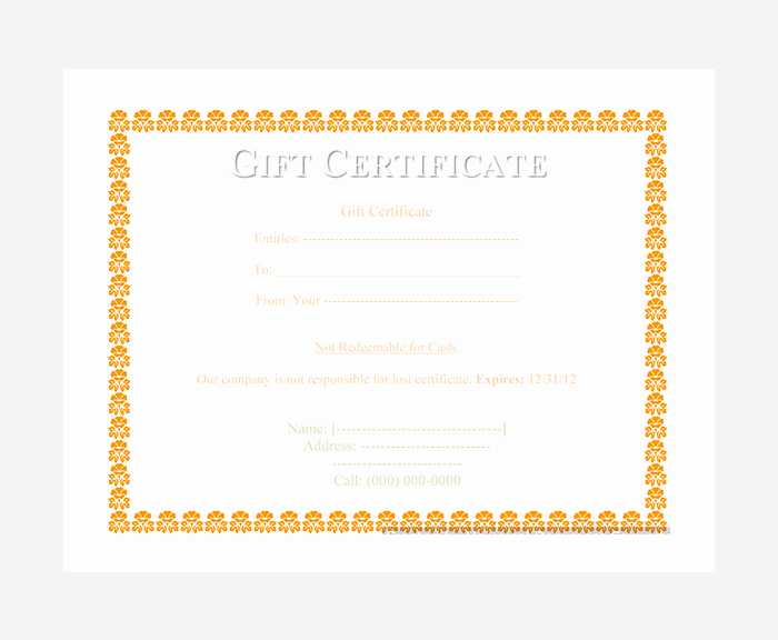 Word Gift Certificate Template New 44 Free Printable Gift Certificate Templates for Word & Pdf