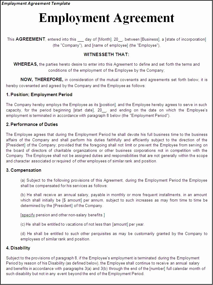 Work for Hire Agreement Template Best Of Printable Sample Employment Contract Sample form