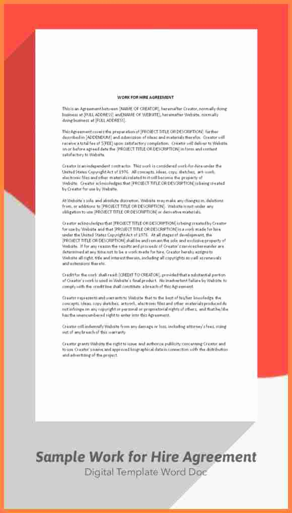 Work for Hire Agreement Template Elegant 7 Sample Work for Hire Agreement Template