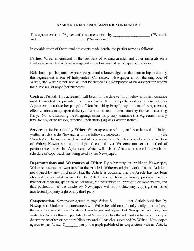 Work for Hire Agreement Template Elegant Freelance Writer Contract