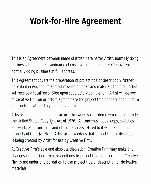 Work for Hire Agreement Template Fresh Work for Hire Contract Template