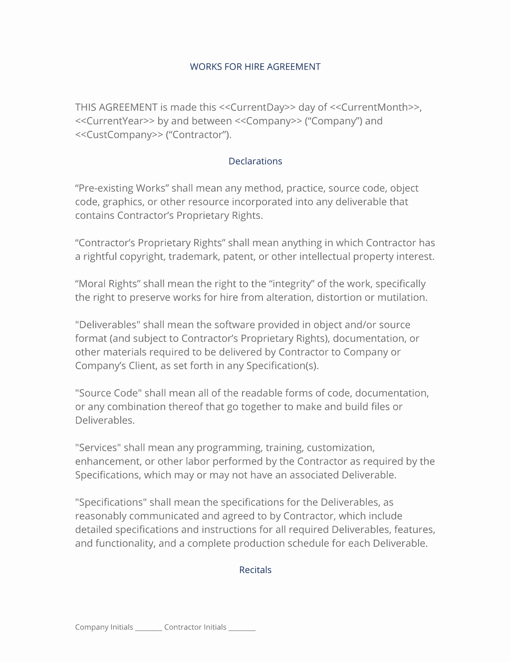 Work for Hire Agreement Template Fresh Works for Hire Agreement