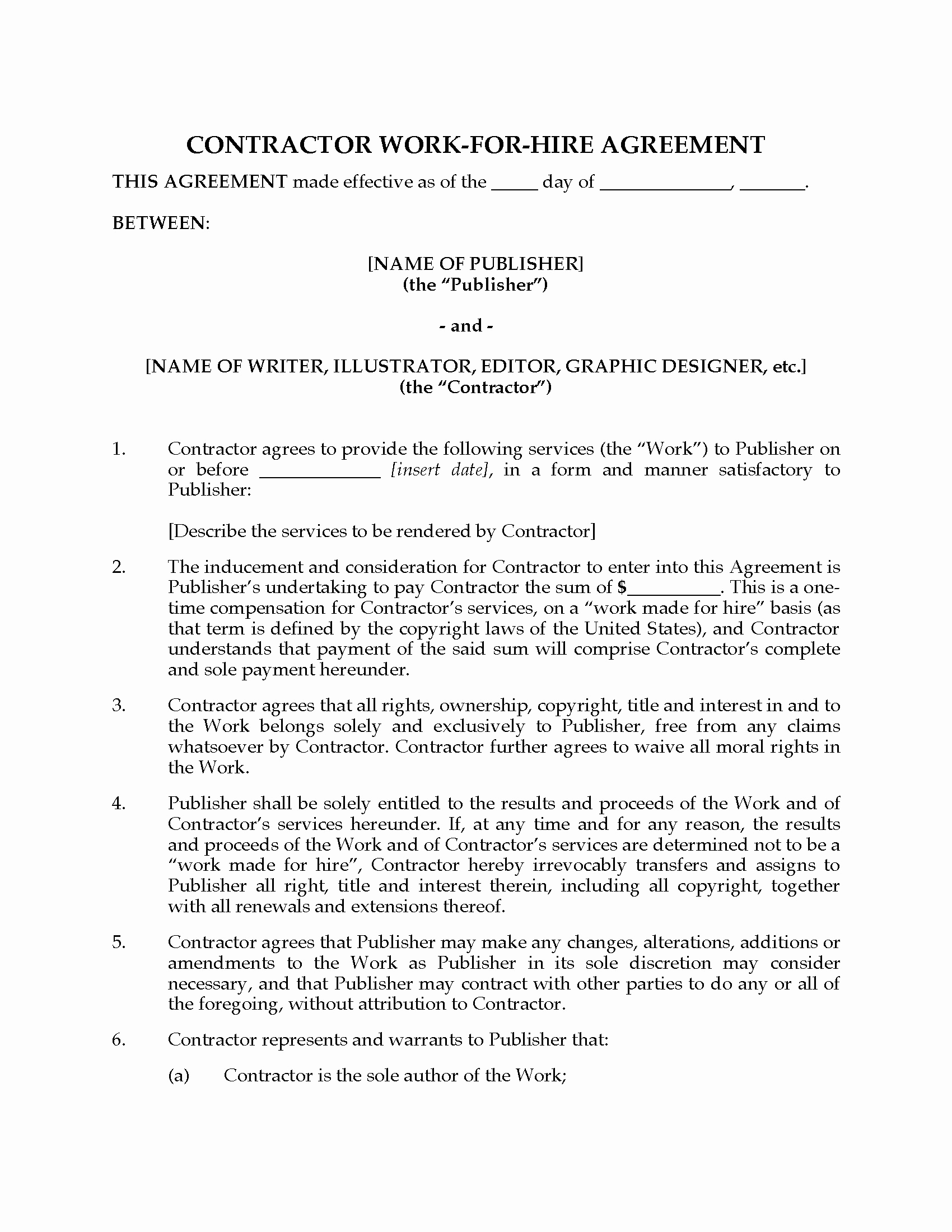 Work for Hire Agreement Template Inspirational Usa Work for Hire Agreement for Artists and Writers