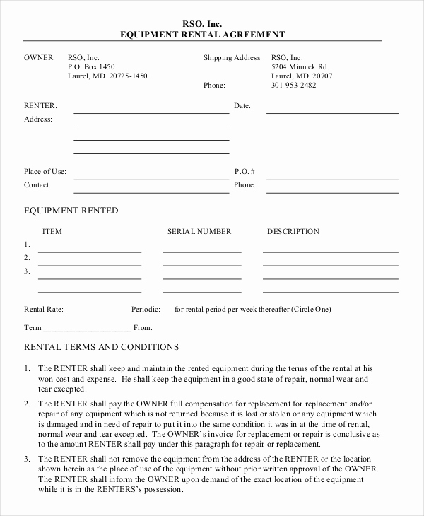 Work for Hire Agreement Template Luxury 20 Equipment Rental Agreement Templates Doc Pdf