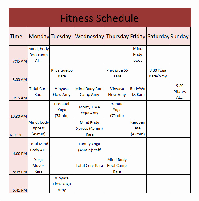 Work Out Schedule Templates Awesome Daily Workout Calendar 2018 Template Excel Word Pdf