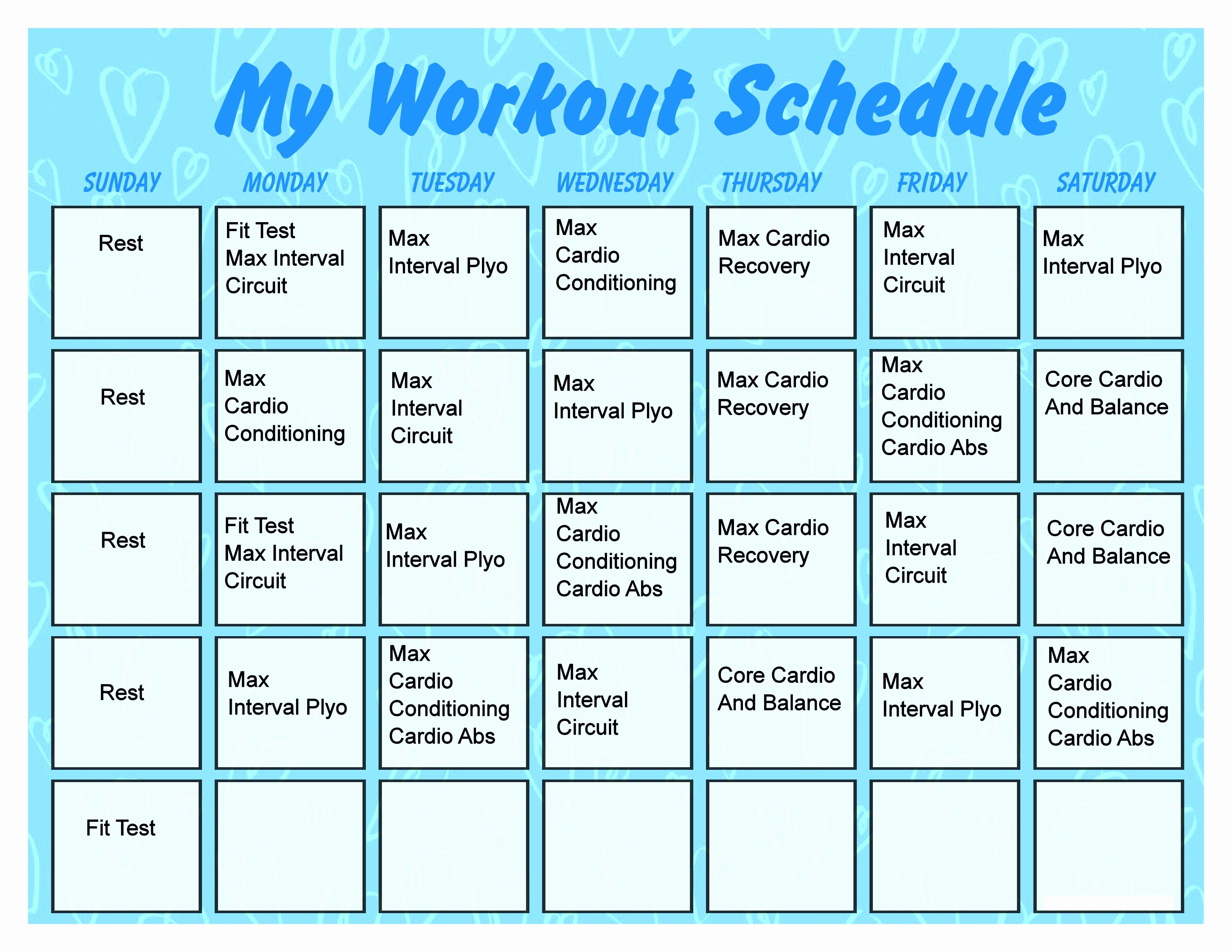 Work Out Schedule Templates Best Of Printable Workout Calendar Activity Shelter