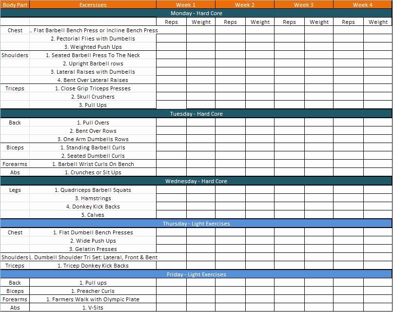 Work Out Schedule Templates Elegant Bodybuilding Schedule Getting Fit