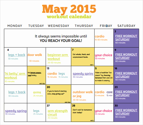 Work Out Schedule Templates Elegant Workout Calendar Templates 10 Download Documents In Pdf