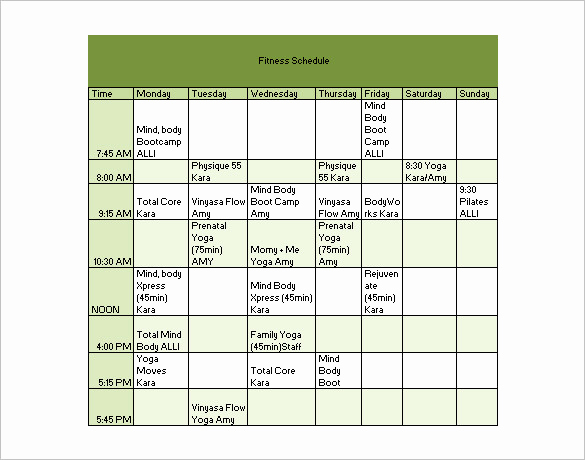 Work Out Schedule Templates Lovely Workout Schedule Template 6 Free Sample Example format