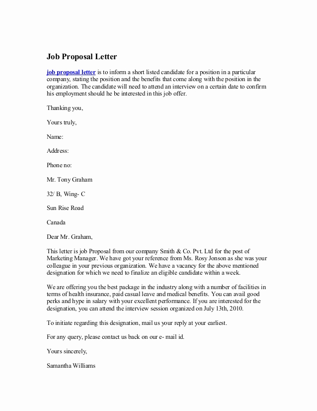 Writing A Proposal Letter Awesome Job Proposal Letter