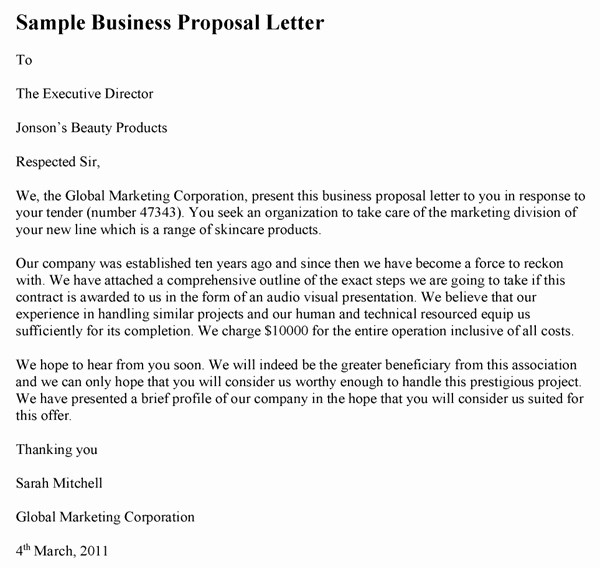 Writing A Proposal Letter Best Of Sample Business Proposal Letter