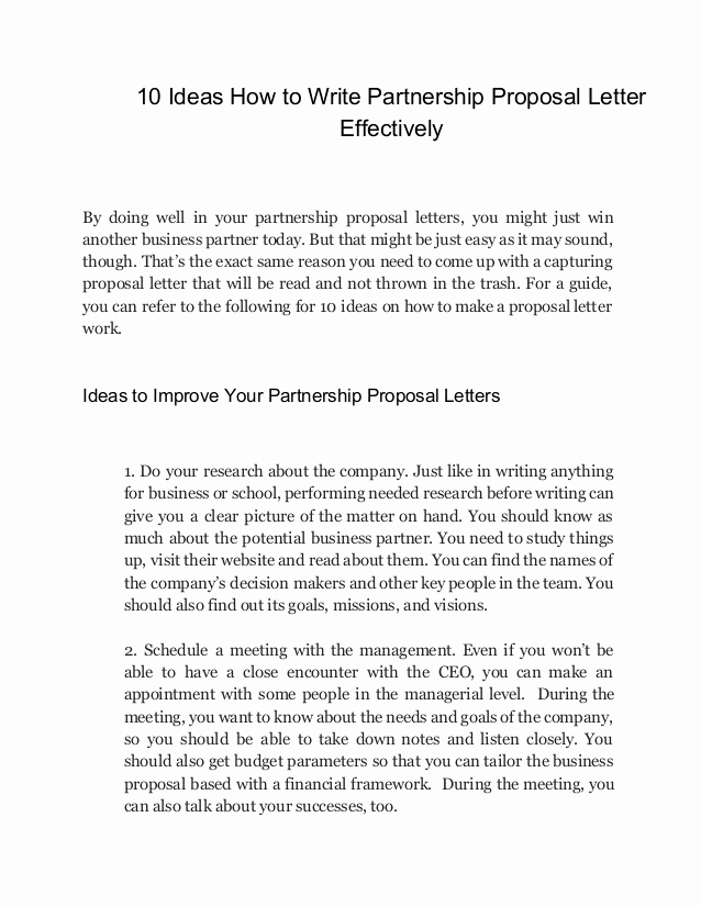 writing partnership proposal letters that results
