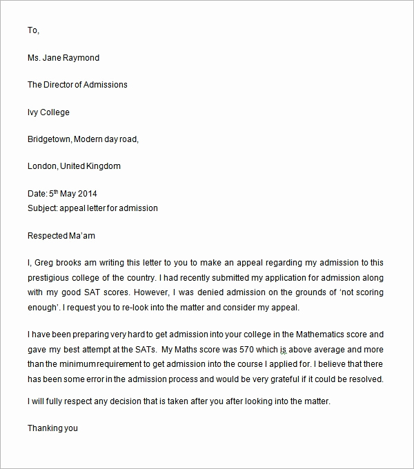 Writing An Appeal Letter Inspirational Sample Appeal Letter 11 Free Documents Download In Word