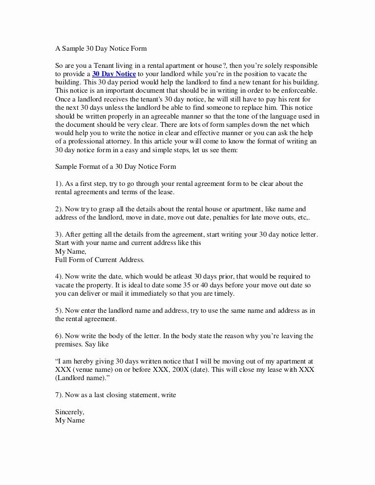 Written Notice to Vacate Lovely 30 Day Notice