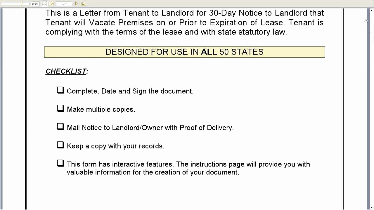 Written Notice to Vacate Luxury 30 Day Notice to Landlord that Tenant Will Vacate Premises