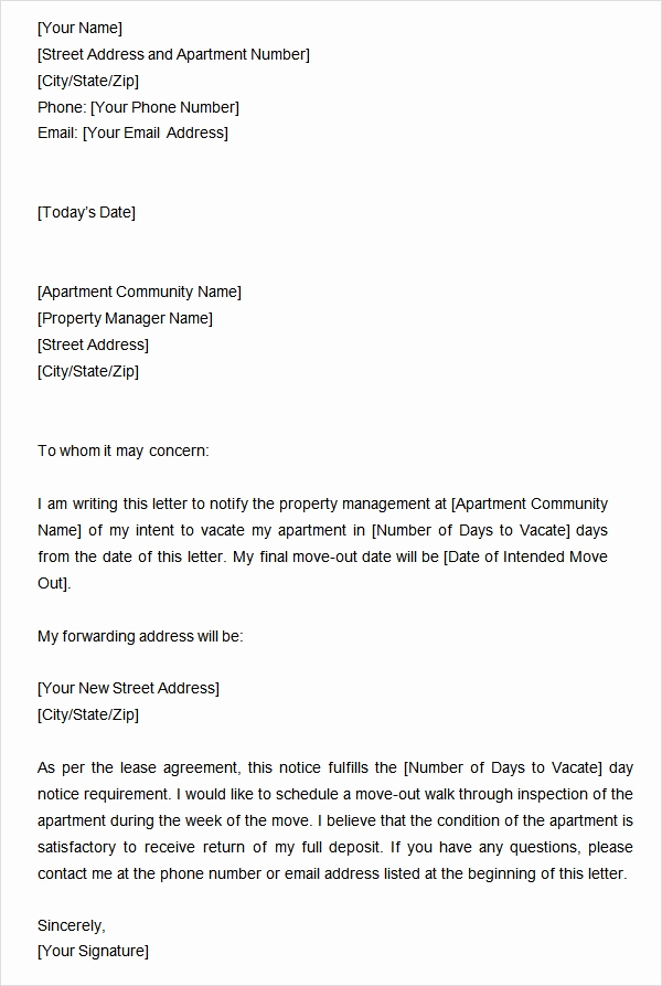 Written Notice to Vacate New Two Weeks Notice Letter 12 Download Free Documents In Word