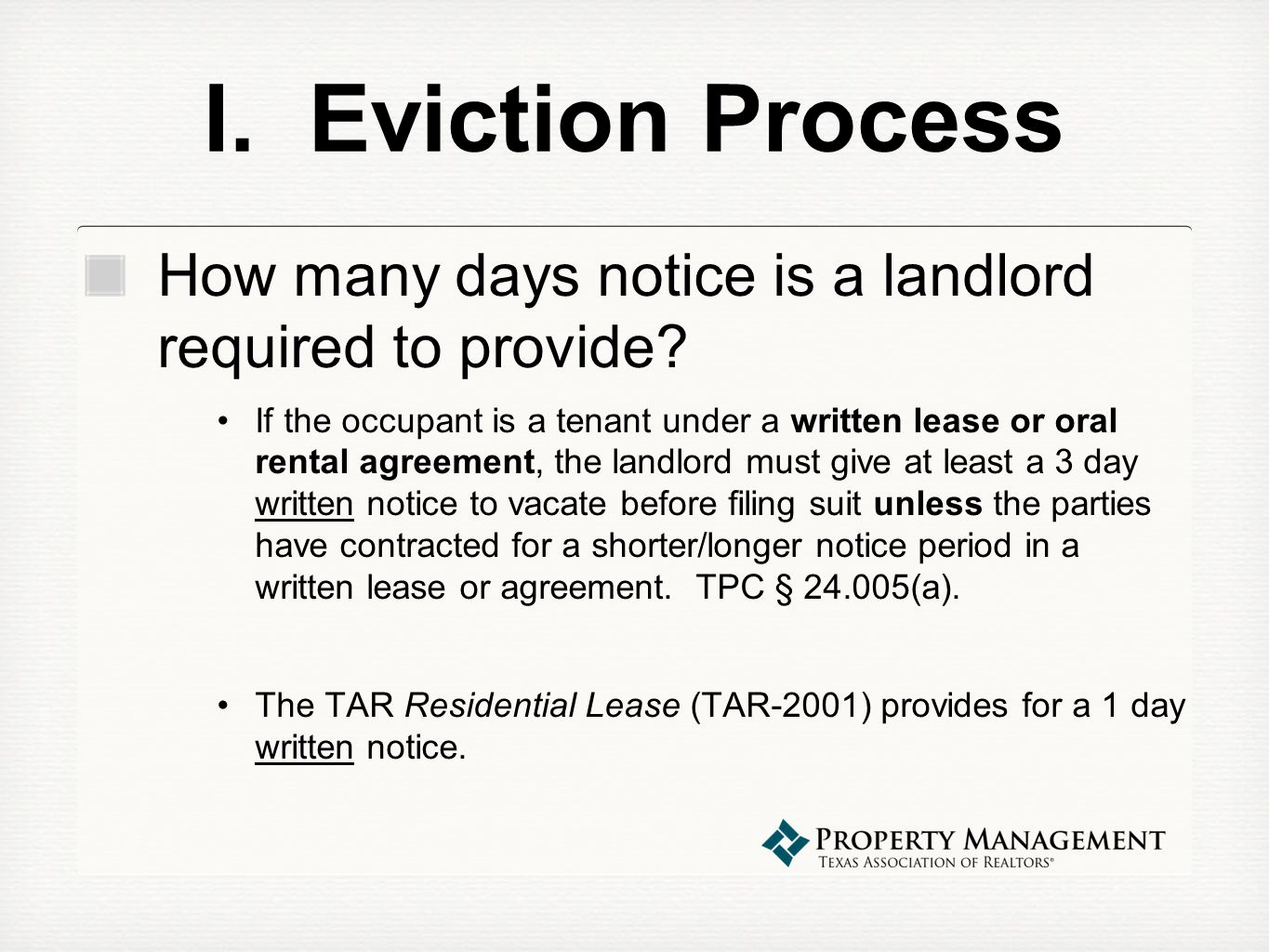 Written Notice to Vacate Unique Property Management Webinar Series Evictions