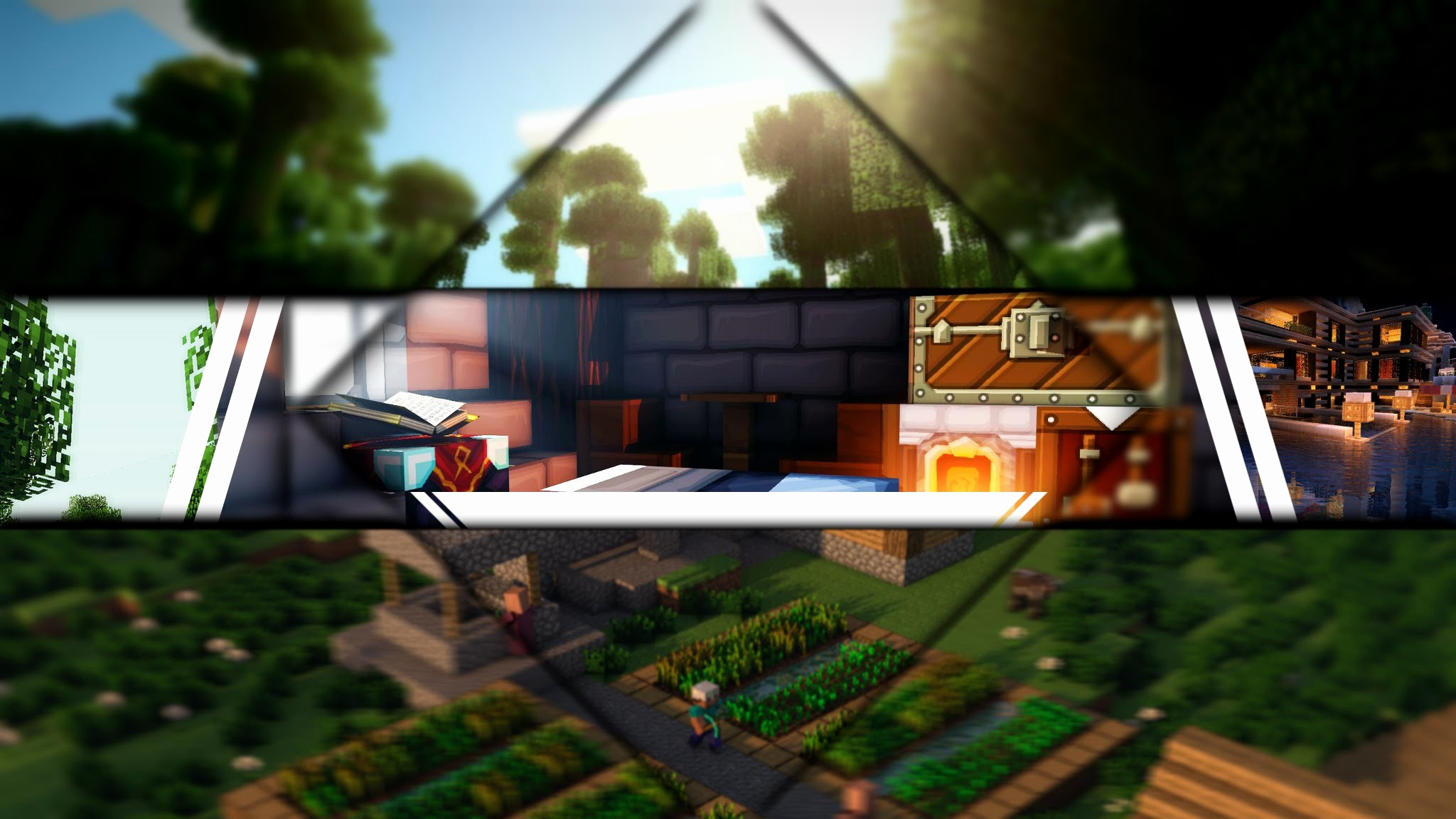Youtube Banner Template No Text Fresh Epic Minecraft Background ·①