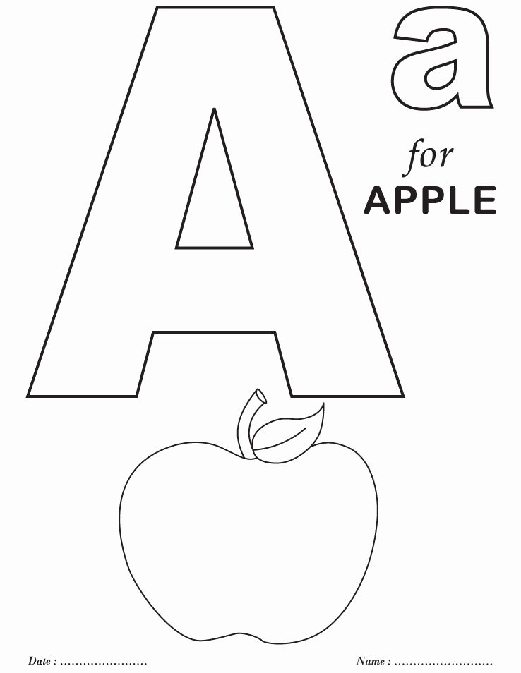 Letter A Printable Beautiful Letter A for Apple Alphabet Printable