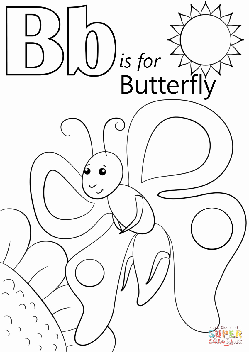 Letter B Printable Best Of Letter B is for butterfly Coloring Page