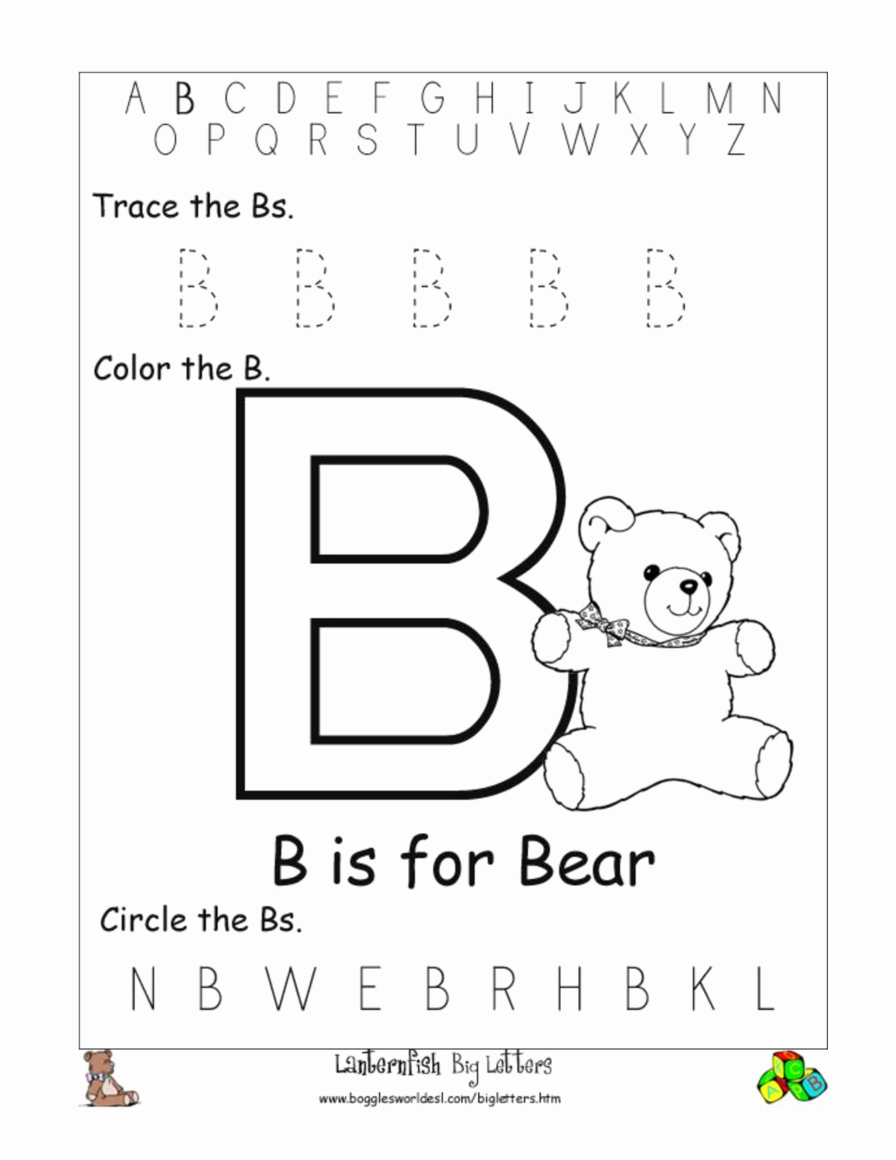 Letter B Printable Lovely Alphabet Worksheet Big Letter B Doc