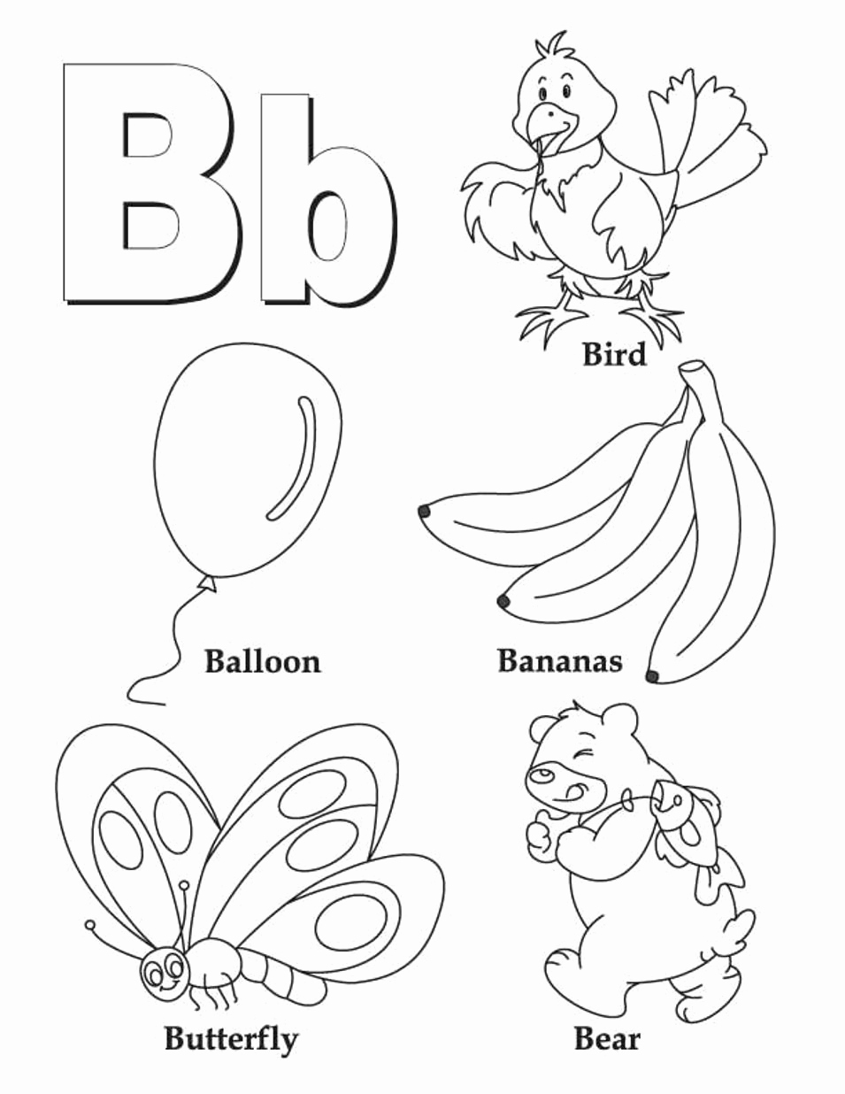Letter B Printable New Letter B Coloring Pages Preschool and Kindergarten